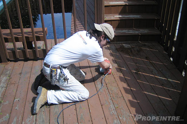 Wood deck painting